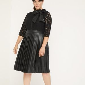 Eloquii faux leather & lace dress pleated skirt 18